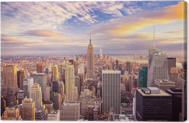 Sunset Over Midtown Manhattan Canvas Print Pixers 174 We