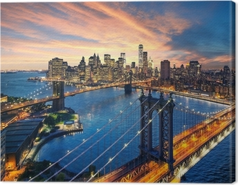 Sunset over the Manhattan and Brooklyn bridge Canvas Print