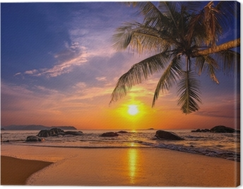 Sunset over the sea. Province Khao Lak in Thailand Canvas Print