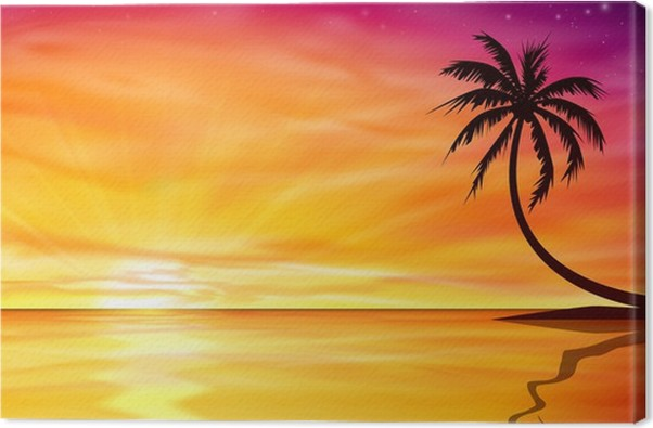 sunset sunrise with palm tree canvas print pixers we live to