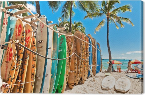 Surfboards In The Rack At Waikiki Beach Honolulu Canvas
