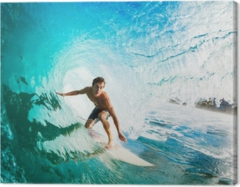 Surfer on Blue Ocean Wave in the Tube Getting Barreled Canvas Print