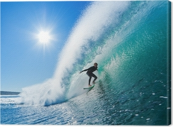 Surfer on Blue Ocean Wave Canvas Print