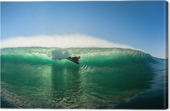 Surfing Bodyboarder Inside Hollow Wave Colors Canvas Print