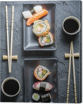 Sushi for two served on black stone Canvas Print