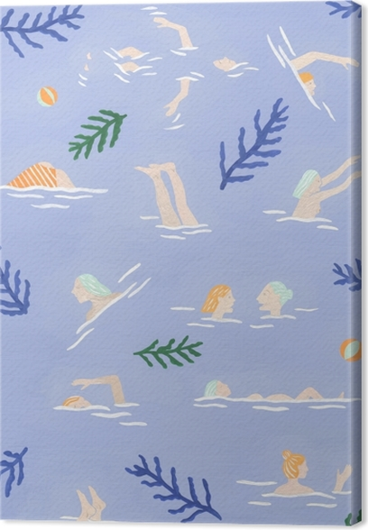 Swimming Girls - Mathilde Rives Canvas Print - Contemporary artists
