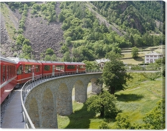 Swiss mountain train Bernina Express Canvas Print