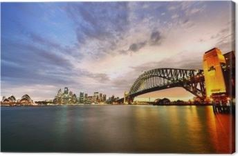 Sydney Harbor Panorama at twilight Canvas Print
