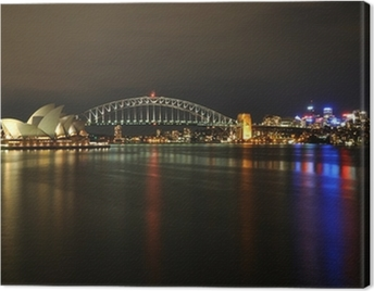 Sydney Harbour at night Canvas Print