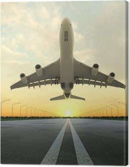 takeoff plane in airport at sunset Canvas Print