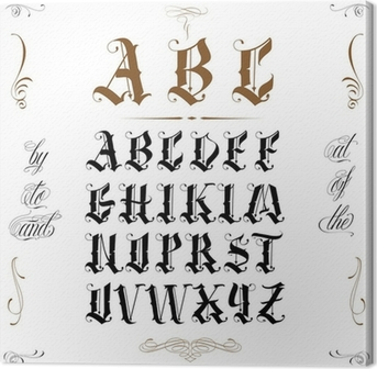 Calligraphy alphabet with numbers Canvas Print • Pixers® • We live