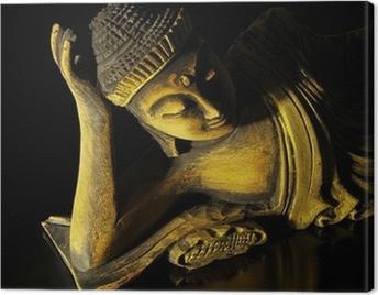 Teak wood lying buddha on black Canvas Print