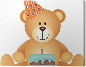 Teddy Bear with Birthday Cake Canvas Print