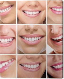 teeth collage of people smiles Canvas Print