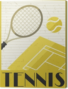 Tennis. Retro poster in flat design style. Canvas Print
