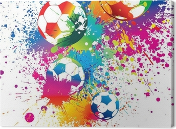The colorful footballs on a white background Canvas Print