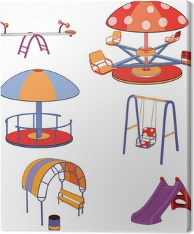 The complete set a children's swing. Cartoon Canvas Print
