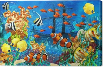The coral reef - illustration for the children Canvas Print