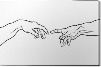 The Creation of Adam. Fragment (Outline vesion) Canvas Print
