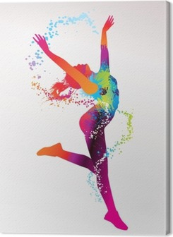 The dancing girl with colorful spots and splashes on a light bac Canvas Print