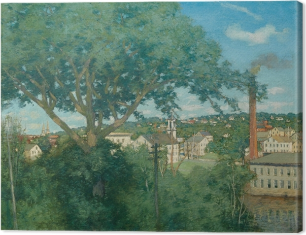 The Factory Village Canvas Print - Impressionism