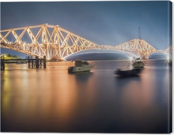 The Forth Road Bridge by night Canvas Print