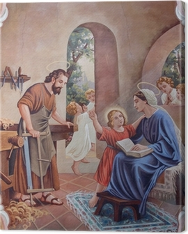 The fresco of Holy Family from village church Canvas Print