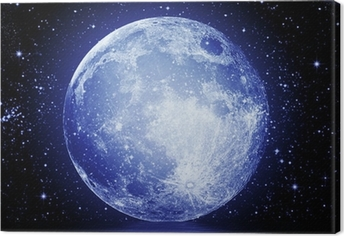 The full moon in the night sky reflected in water Canvas Print