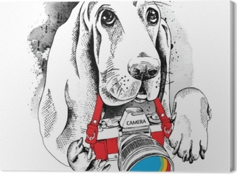 The poster with the image of the dog with the camera. Vector illustration. Canvas Print