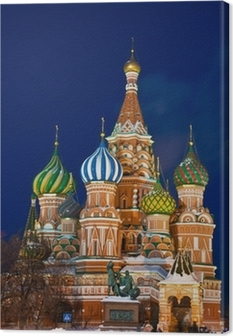 The Saint Basil's cathedral at night, Moscow Canvas Print