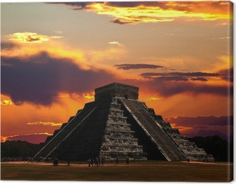 The temples of chichen itza temple in Mexico Canvas Print