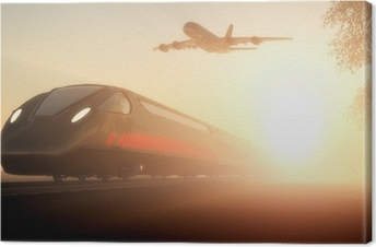 The train and airplane Canvas Print