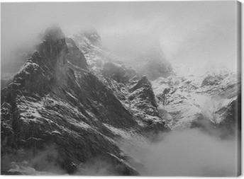 The Wetterhorn (3692m) over Grindelwald village, Switzerland Canvas Print