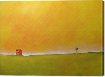this is an abstract painting of a farm scene Canvas Print