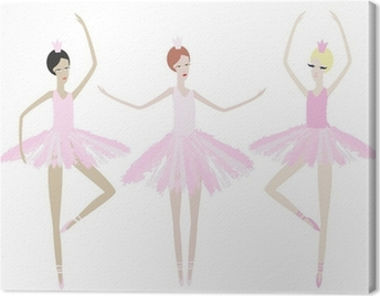 Three graceful ballerinas dance in identical dresses Canvas Print