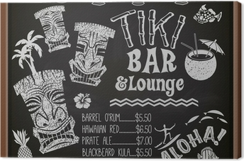 Tiki Bar and Lounge Chalkboard Cocktail Menu Canvas Print
