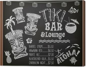 Tiki Bar and Lounge Chalkboard Cocktail Menu Canvas Print