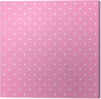 Tile vector pattern with white polka dots on pink background Canvas Print