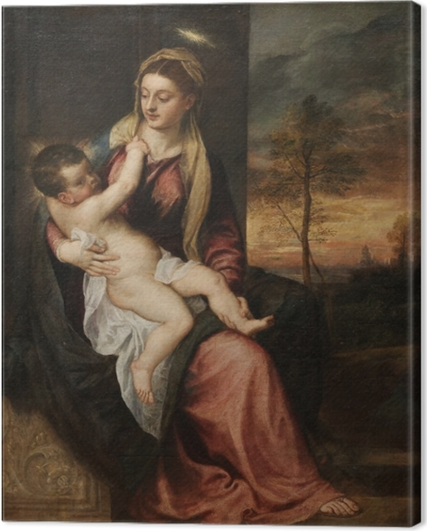 Titian - Madonna and Child in an Evening Landscape Canvas Print - Reproductions