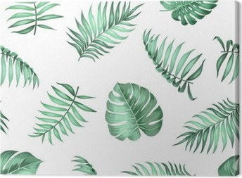 Topical palm leaves on seamless pattern for fabric texture. Vector illustration. Canvas Print
