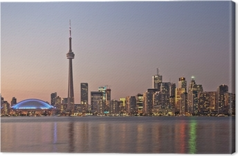 Toronto night skyline CN Tower downtown skyscrapers sunset Canad Canvas Print