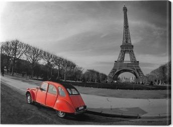 Tour Eiffel et voiture rouge- Paris Canvas Print
