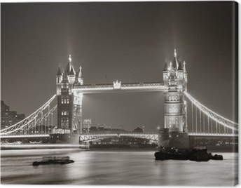 Tower Bridge at night in black and white Canvas Print