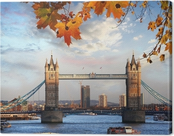 Tower Bridge with autumn leaves in London, England Canvas Print