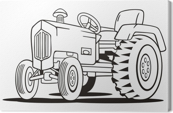 Tractor Coloring Template Canvas Print • Pixers® • We live to change