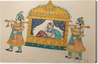 Traditional ancient wall painting of indian woman being taken Canvas Print