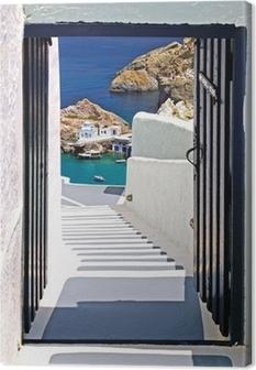 Traditional architecture of Oia village on Santorini island, Gre Canvas Print