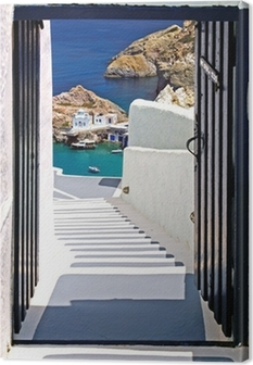 Traditional architecture of Oia village on Santorini island, Gre Canvas Print