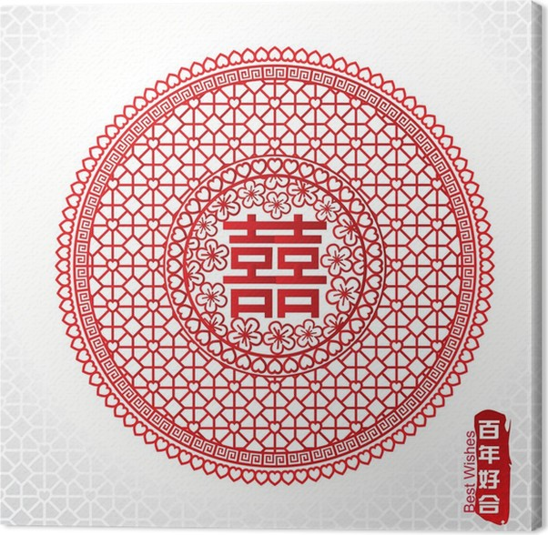 Traditional Chinese Marriage Symbol Of Double Happiness Canvas
