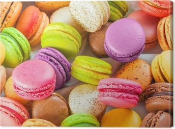 traditional french colorful macarons in a box Canvas Print